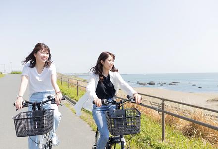 海沿いを自転車で駆け抜ける様子