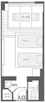 スタイリッシュツインルームの見取り図