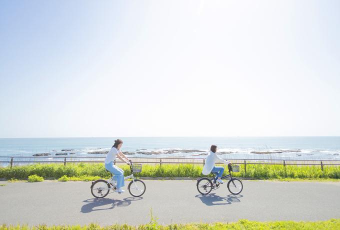 海沿いを自転車で駆け抜ける二人